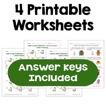 Christmas Multiplication Worksheets (3 digit by 1 digit)
