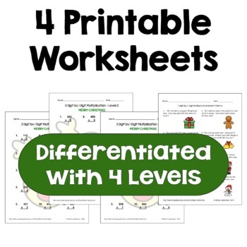 Christmas 3 digit by 1 digit Multiplication Worksheets (Differentiated)