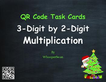 Christmas Math: 3-Digit by 2-Digit Multiplication QR Code Task Cards