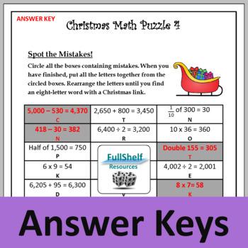 Christmas Math Worksheets 3rd 4th Grade