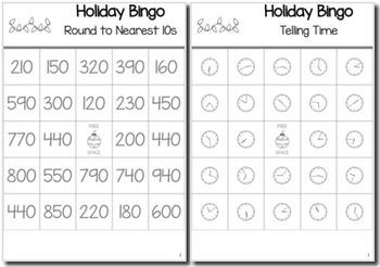 Christmas Math 3rd Grade BINGO Game Bundle