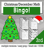 Christmas Math 3rd Grade BINGO Game Bundle