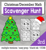 Christmas Math 3rd Grade Scavenger Hunt Game Bundle