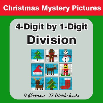 Christmas Math: 4-Digit by 1-Digit Division - Color-By-Number Mystery Pictures