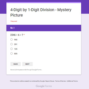 Christmas Math: 4-Digit by 1-Digit Division - Mystery Picture - Google Forms