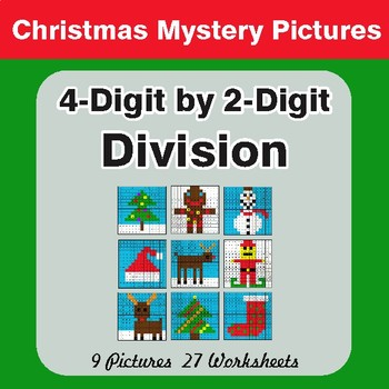 Christmas Math: 4-Digit by 2-Digit Division - Color-By-Number Math Mystery Pictures