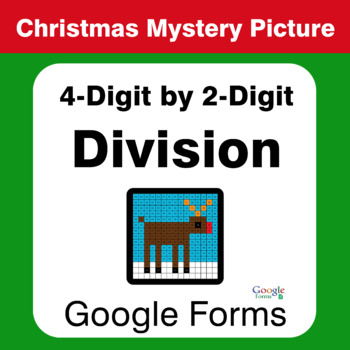 Christmas Math: 4-Digit by 2-Digit Division - Mystery Picture - Google Forms