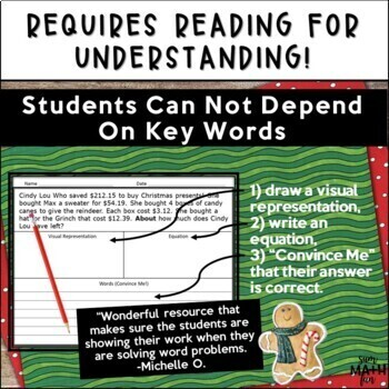 Christmas Math Word Problems Fourth Grade Multi-Step