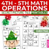 Christmas Math 4th-5th Secret Picture Tile Printables