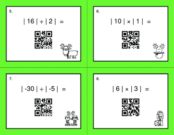 Christmas Math: Absolute Value - Multiplication & Division QR Code Task Cards