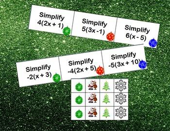 Christmas Distributive Property Bingo