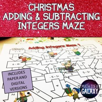 Christmas Math Integers Maze Activity By Idea Galaxy Tpt