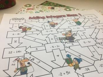 Christmas Math Integers Maze Activity