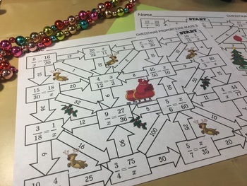 Christmas Math Proportions Maze Activity
