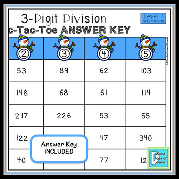 Christmas Winter Math Activities   3-Digit Division Without Remainders