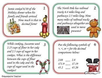 Christmas Math Activities - 4th Grade - Decimals