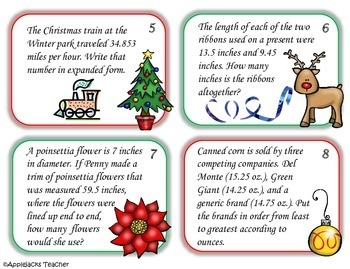 Christmas Math Activities - 5th Grade - Decimals