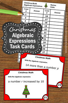 Christmas Math Activities, Algebraic Expressions Task Cards, Algebra Games