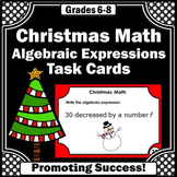 Evaluating Algebraic Expressions Task Cards, Christmas Math Games SCOOT