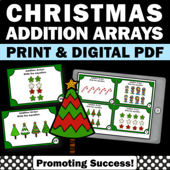 Addition Arrays Task Cards, Christmas Math Games, 2nd Grade Math Review