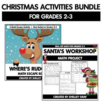 Christmas Math Activities Bundle for Grades 2-3   Project, Escape, Gallery Walk