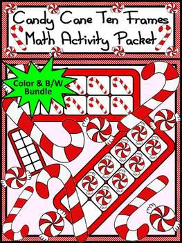 Christmas Math Activities: Candy Cane Christmas Ten Frames Math Activity