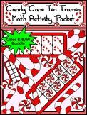 Christmas Math Activities: Candy Cane Christmas Ten Frames Math Activity Bundle
