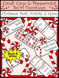 Christmas Math Activities: Candy Cane Dominoes Christmas Game Activity - BW