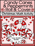 Christmas Math Activities: Candy Cane Roll & Cover Christmas Math Game Activity