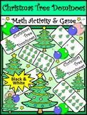Christmas Math Activities: Christmas Tree Dominoes Christmas Game Activity - BW