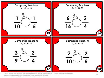 Christmas Math Activities, Comparing Fractions Task Cards 3rd Grade Math Centers