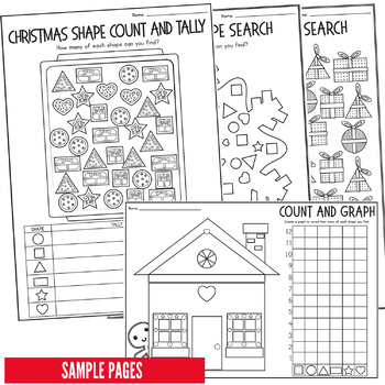 Christmas Math Activities: Count, Tally & Graph 2D Shapes Number Fun
