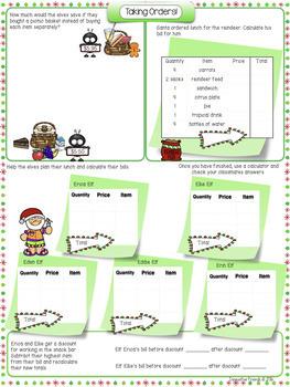 Christmas Math Activities – Decimal Numbers-Algebraic Expressions