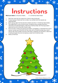 Christmas Math Activities: Fraction Decimal Percent Conversion Sort