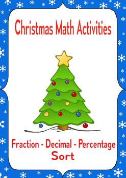 Christmas Math Activities: Fraction Decimal Percent Conver