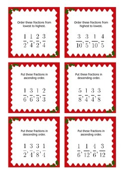 Christmas Math Activities: Fraction Games and Task Cards