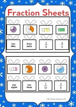 Christmas Math Activities: Fraction Sort