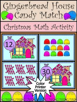 Christmas Math Activities: Gingerbread House Candy Match Counting Activity