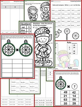 Christmas Math Activities (Multiplication and Division) - No Prep