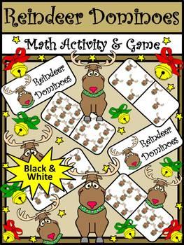 Christmas Math Activities: Reindeer Dominoes Christmas Game Activity