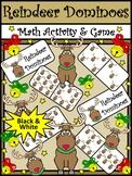Christmas Math Activities: Reindeer Dominoes Christmas Game Activity -BW Version