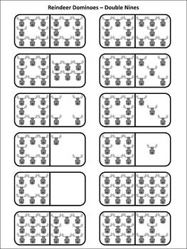Christmas Math Activities: Reindeer Dominoes Christmas Game Activity -BW Version