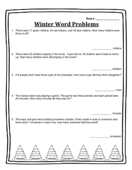 Christmas Math Activities Word Problems Math Activities 2nd Math Christmas 2nd