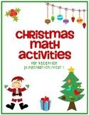Christmas Math Activities for Reception (Kindergarten)/Year 1