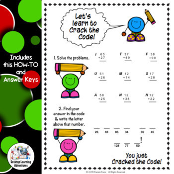 Christmas Math Activity : 2-Digit Addition & Subtraction Crack the Code