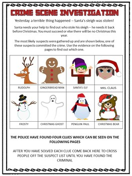 Christmas Math Activity: Advanced Edition. CSI Math- Who Stole Santa's Sleigh?