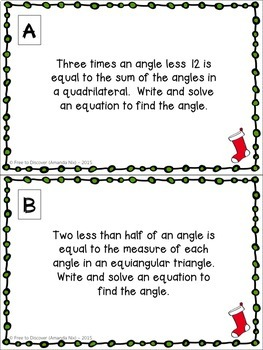 Christmas Math Activity - Angle Relationships