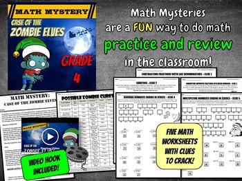4th Grade Christmas Activity - Christmas Math Mystery : Zombie Elves CSI