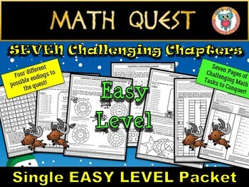 Christmas Math Activity QUEST- Reindeer Round-Up (EASY Level)