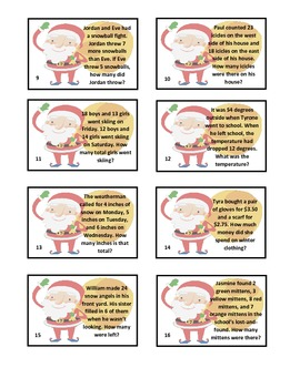 Slide the Santa - Christmas and Winter Math Word Problems Game
